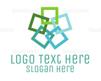 Editor - Square Flower logo design