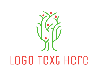 Juice - Thin Green Tree logo design