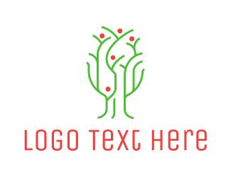 Agritech - Thin Green Tree logo design