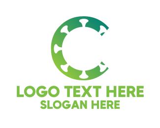 Green Virus - Virus Letter C logo design