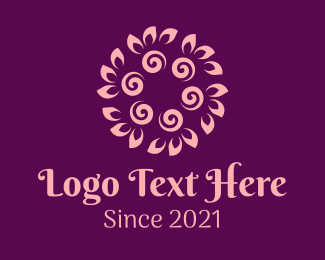 Theraphy - Pink Swirl Flower  logo design