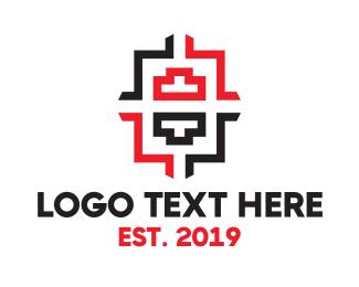 Tetris - Digital Pixel Number 8 logo design