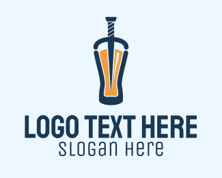 Beer Bottle - Beer Dagger Bar  logo design