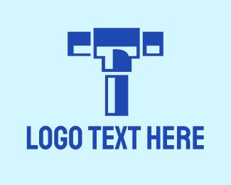 Mallet - Blue Piping Letter T logo design