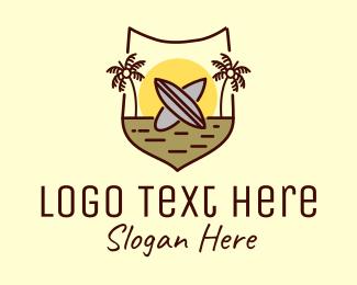 Seaside - Tropical Summer Surfboard Shield logo design