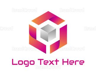 Dynamic - Gradient Pink Silver Cube logo design