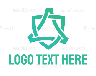 Firewall - Abstract Green Shield logo design