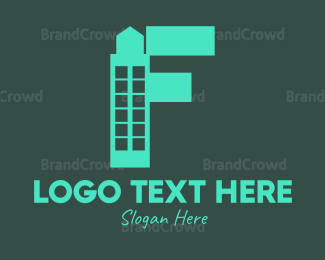 Condominium - Blue Tower Letter F logo design