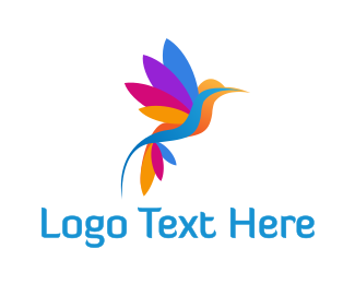 Sparrow - Colorful Hummingbird logo design