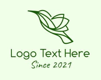 Colibri - Green Natural Hummingbird logo design