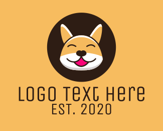 Corgi - Happy Corgi Dog logo design