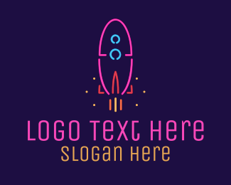 Space - Neon Space Rocket logo design