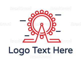 Fun - Red Ferris Wheel Outline logo design