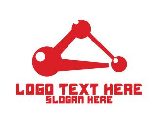 Atom - Red Shiny Atom logo design