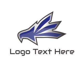 Blue Eagle - Metallic Eagle Mascot logo design