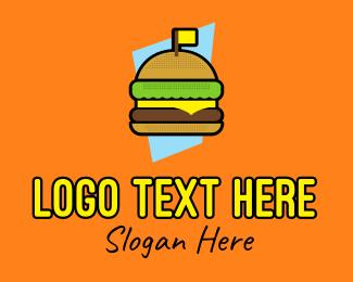 Hot Dog Stall - Retro Cheese Burger logo design