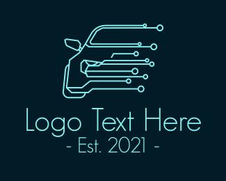 Race Car - Blue Car Tech Circuit  logo design