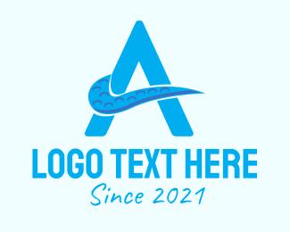 Initial - Blue Tentacle Letter A logo design