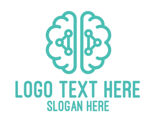 Brain - Teal Brain Logic logo design