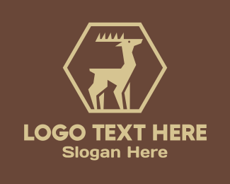 Moose Head - Wild Brown Deer logo design