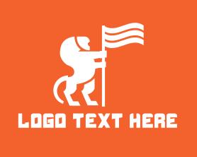 Management - Royal Lion Flag logo design