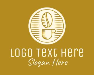 Roasted - Elegant Coffee Bean Cup logo design