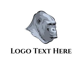 Ape - Grey Gorilla logo design