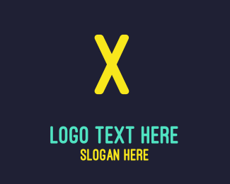 Purple And Yellow - Neon Yellow Letter logo design