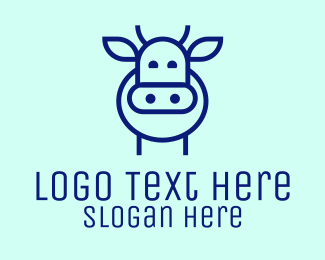 Dairy Farmer - Minimalist Blue Cow logo design