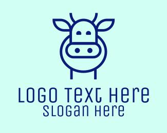 Dairy Farmer - Minimalist Blue Cow logo design