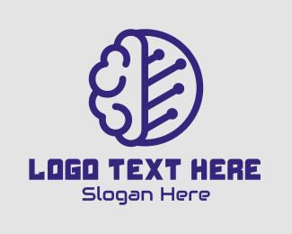Brain - Blue Brain Circuit logo design