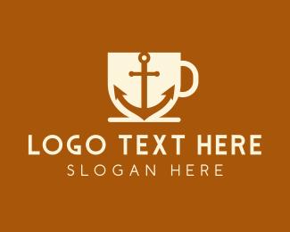 Cruise Ship - Anchor Mug Cafe logo design