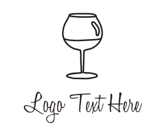 Alcohol - Black Wineglass logo design