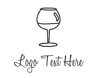 Pub - Black Wineglass logo design