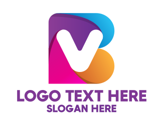 Brand - Colorful B & V Monogram logo design