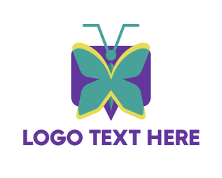 Bee - Mint Butterfly logo design