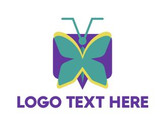 Bee - Mint Butterfly logo design
