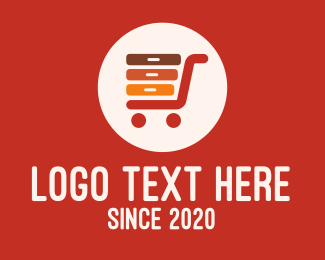 Push Cart - Office Supplies Shopping Cart logo design