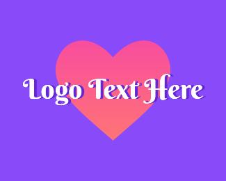 Word - Cursive Heart Valentine Wordmark logo design
