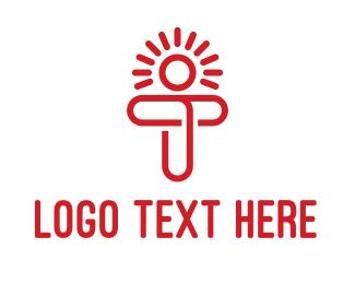 Red Sun - Modern T Sun logo design