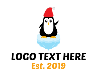 South Pole - Ice Penguin Christmas logo design