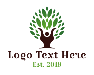 Human Tree - Ecologist Person logo design