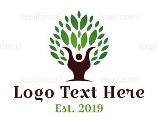 Human Tree - Ecologist Person logo design