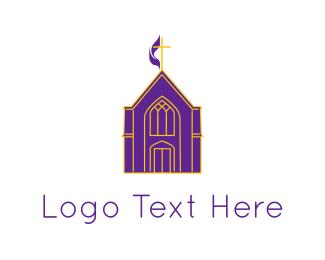 Temple - Purple Church logo design