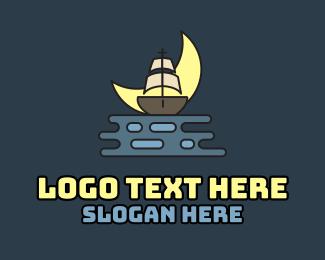 Cruise Ship - Moon Pirate Cruise logo design