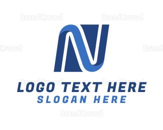 Curvature - Network Letter N logo design