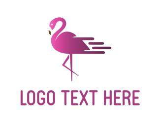 Tropical - Fast Flamingo logo design