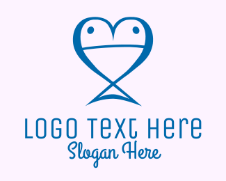 Dating Website - Blue Fish Heart  logo design