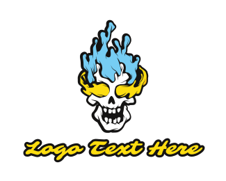 Clan - Blue Yellow Flame Skull logo design