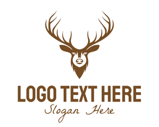 Elk - Brown Elk Head logo design